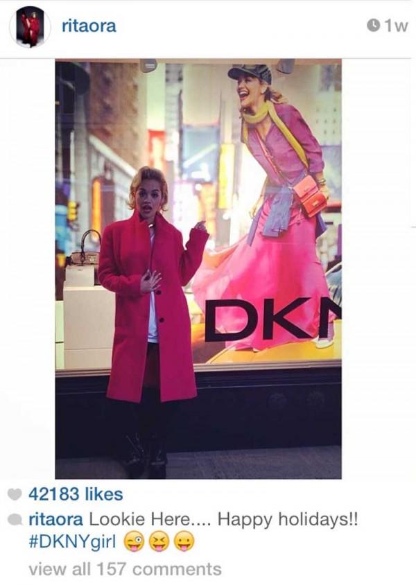 Rita Ora in DKNY window